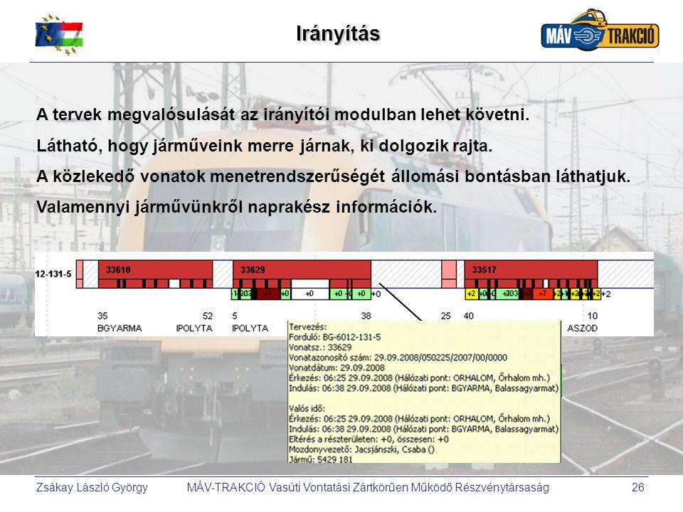 Zsákay László György MÁV-TRAKCIÓ Vasúti Vontatási Zártkörűen Működő Részvénytársaság26 Irányítás A tervek megvalósulását az irányítói modulban lehet k