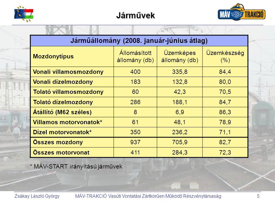 Zsákay László György MÁV-TRAKCIÓ Vasúti Vontatási Zártkörűen Működő Részvénytársaság6 2008-2010 között: a MÁV-tól örökölt járműpark tisztítása, átrendezése, a továbblépés lehetőségének előkészítése (kimozdulás a holtpontról), a reális fejlesztési koncepció kidolgozása, a megvalósítás előkészítése.