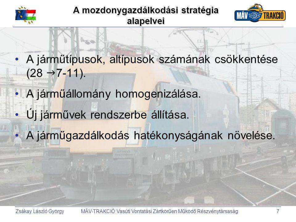 Zsákay László György MÁV-TRAKCIÓ Vasúti Vontatási Zártkörűen Működő Részvénytársaság7 A mozdonygazdálkodási stratégia alapelvei •A járműtípusok, altíp