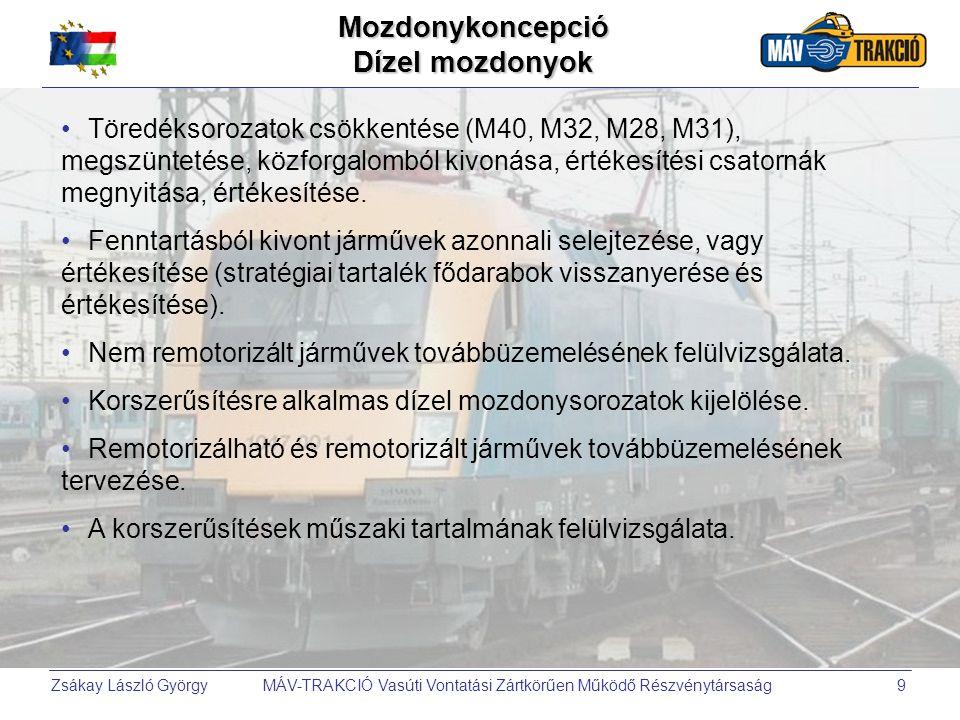 Zsákay László György MÁV-TRAKCIÓ Vasúti Vontatási Zártkörűen Működő Részvénytársaság10 •Fenntartásból kivont, túlüzemelt mozdonyok selejtezése, (stratégiai tartalék fődarabok visszanyerése és értékesítése).