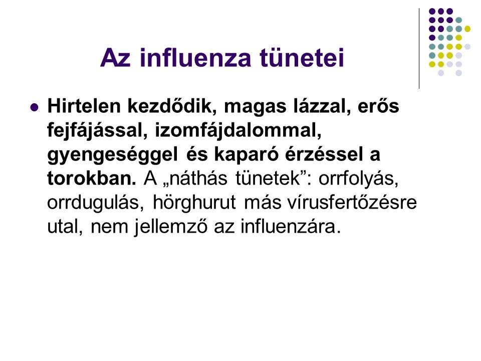 Az influenza tünetei  Hirtelen kezdődik, magas lázzal, erős fejfájással, izomfájdalommal, gyengeséggel és kaparó érzéssel a torokban.