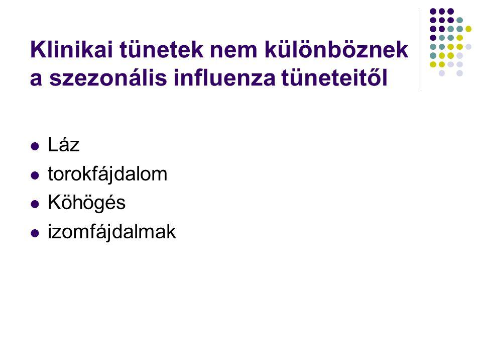 Klinikai tünetek nem különböznek a szezonális influenza tüneteitől  Láz  torokfájdalom  Köhögés  izomfájdalmak