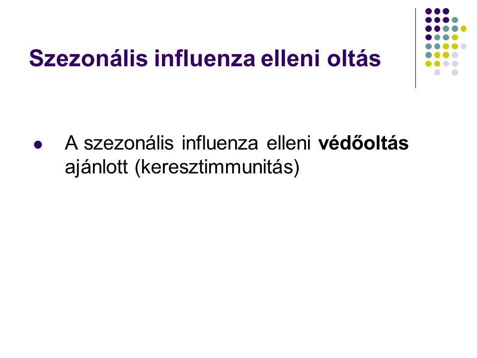 Szezonális influenza elleni oltás  A szezonális influenza elleni védőoltás ajánlott (keresztimmunitás)