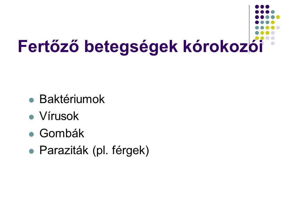 Fertőző betegségek kórokozói  Baktériumok  Vírusok  Gombák  Paraziták (pl. férgek)