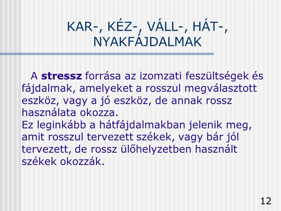 12 KAR-, KÉZ-, VÁLL-, HÁT-, NYAKFÁJDALMAK A stressz forrása az izomzati feszültségek és fájdalmak, amelyeket a rosszul megválasztott eszköz, vagy a jó