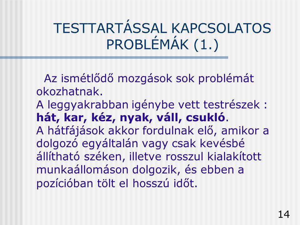 14 TESTTARTÁSSAL KAPCSOLATOS PROBLÉMÁK (1.) Az ismétlődő mozgások sok problémát okozhatnak. A leggyakrabban igénybe vett testrészek : hát, kar, kéz, n