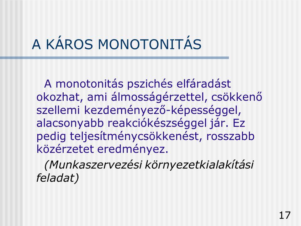 17 A KÁROS MONOTONITÁS A monotonitás pszichés elfáradást okozhat, ami álmosságérzettel, csökkenő szellemi kezdeményező-képességgel, alacsonyabb reakci