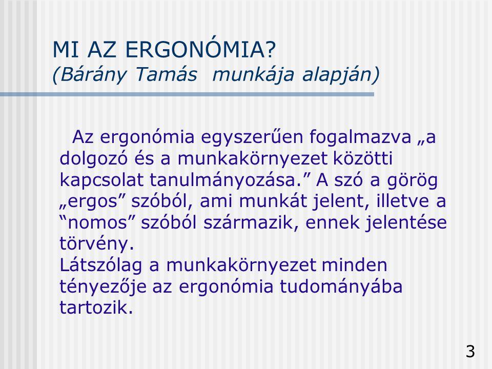 """3 MI AZ ERGONÓMIA? (Bárány Tamás munkája alapján) Az ergonómia egyszerűen fogalmazva """"a dolgozó és a munkakörnyezet közötti kapcsolat tanulmányozása."""""""