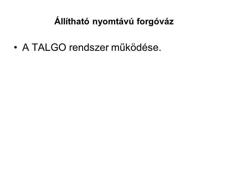 Állítható nyomtávú forgóváz •A TALGO rendszer működése.