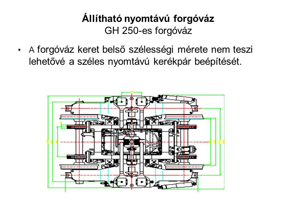Állítható nyomtávú forgóváz GH 250-es forgóváz •A forgóváz keret belső szélességi mérete nem teszi lehetővé a széles nyomtávú kerékpár beépítését.