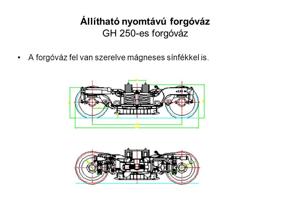 Állítható nyomtávú forgóváz GH 250-es forgóváz •A forgóváz fel van szerelve mágneses sínfékkel is.