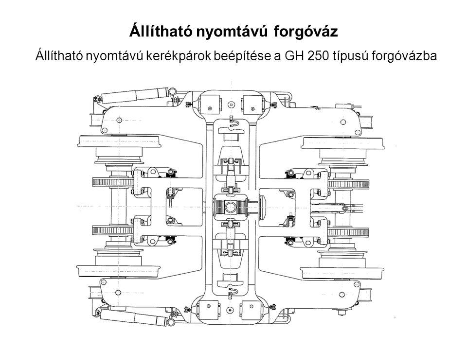 Állítható nyomtávú forgóváz Állítható nyomtávú kerékpárok beépítése a GH 250 típusú forgóvázba