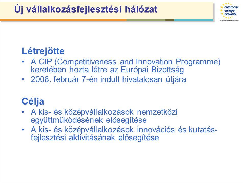 Enterprise Europe Network •Az Európai Bizottság Vállalkozási és Ipari Főigazgatósága egyetlen vállalkozásfejlesztéssel foglalkozó hálózata •Egyedülálló földrajzi lefedettség és tevékenységi kör •45 tagállam, tagjelölt országok, EFTA országok területén •Több mint 500 szervezet közreműködésével •4000 szakember tapasztalatával •Magyarországon a hálózat, országos konzorcium keretében működik, ITD Hungary vezetésével