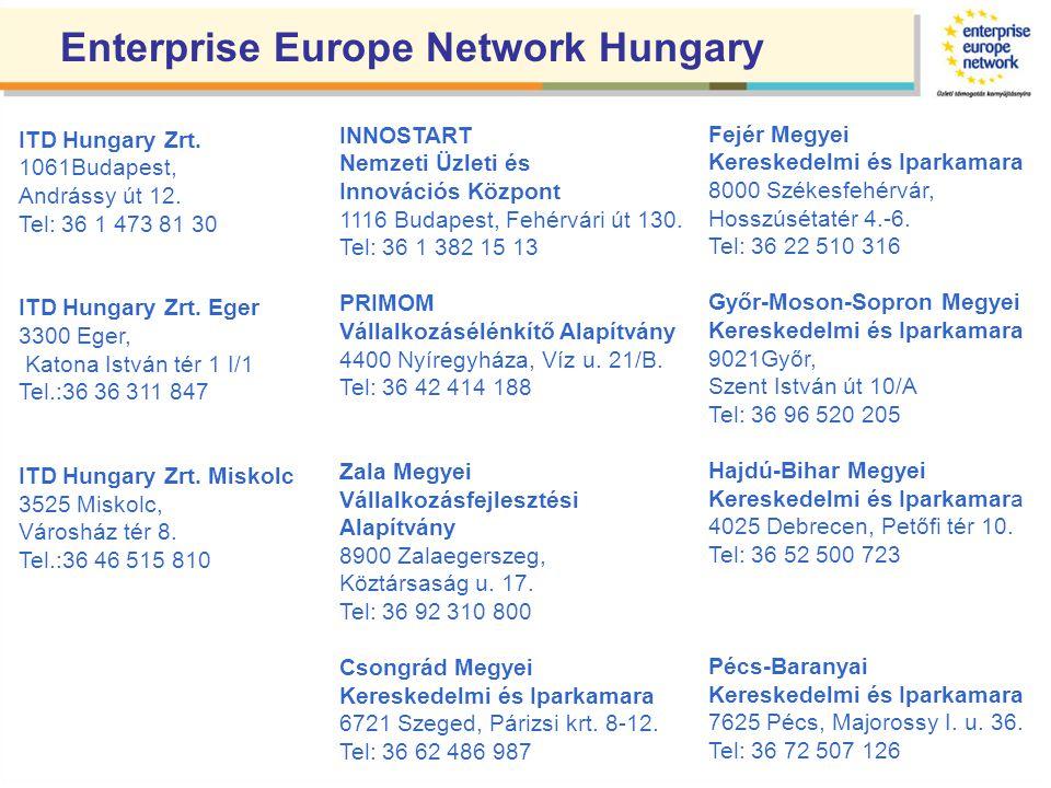 Enterprise Europe Network Hungary ITD Hungary Zrt. 1061Budapest, Andrássy út 12. Tel: 36 1 473 81 30 ITD Hungary Zrt. Eger 3300 Eger, Katona István té
