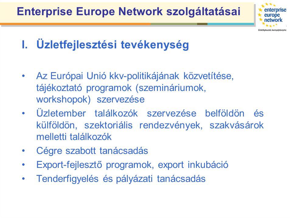 Enterprise Europe Network szolgáltatásai I.Üzletfejlesztési tevékenység •Az Európai Unió kkv-politikájának közvetítése, tájékoztató programok (szemináriumok, workshopok) szervezése •Üzletember találkozók szervezése belföldön és külföldön, szektoriális rendezvények, szakvásárok melletti találkozók •Cégre szabott tanácsadás •Export-fejlesztő programok, export inkubáció •Tenderfigyelés és pályázati tanácsadás