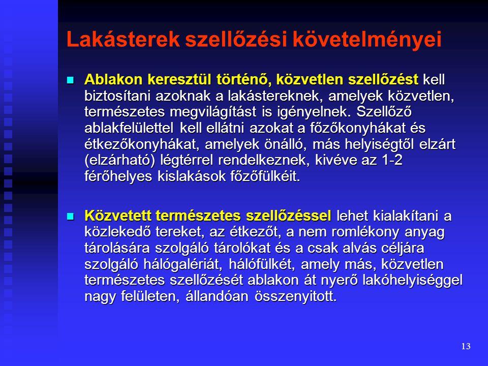 12  A gravitációs szellőzőkürtőn eltávozott levegő utánpótlása vagy a lakás légteréből történik (ajtóréseken, nyílásáttöréseken), vagy külön légcsato