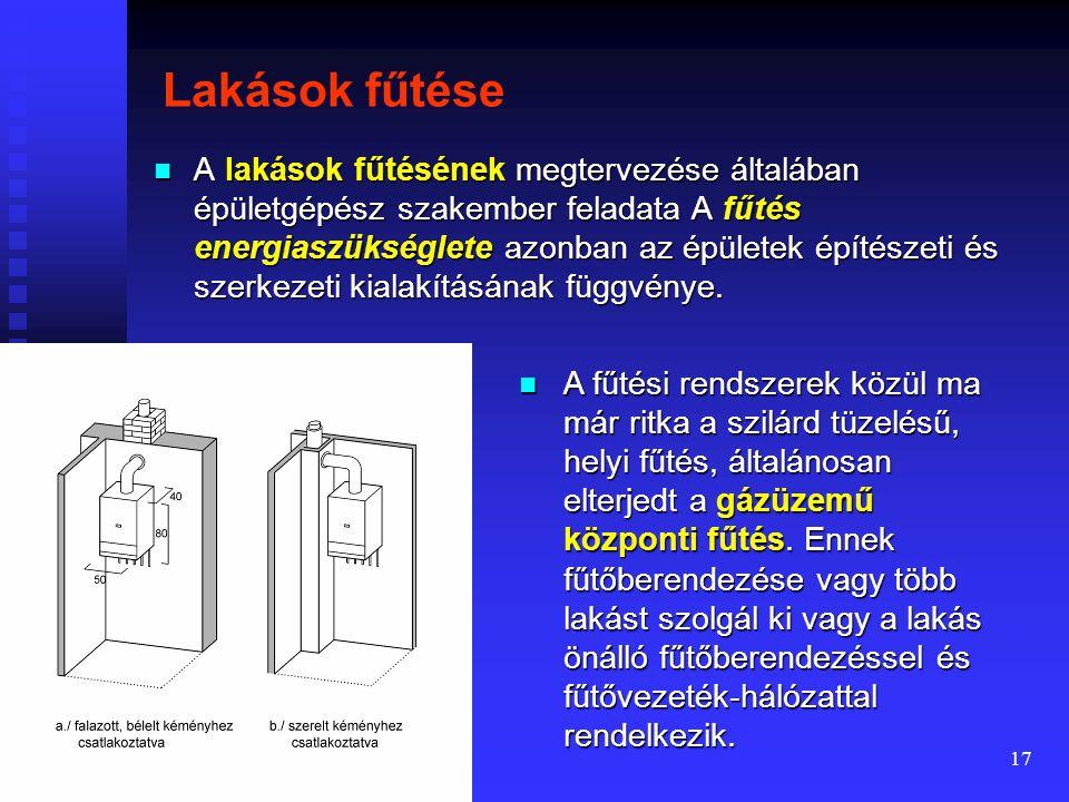 16 A hőérzet tényezői A hőérzetet befolyásoló tényezők:  A lakástér levegőjének hőmérséklete  Üvegfelületek közelsége hideg sugárzás, a komfortérzet