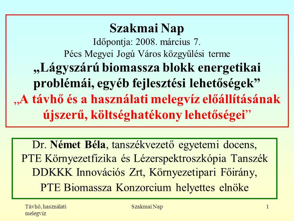 Távhő, használati melegvíz Szakmai Nap1 Szakmai Nap Időpontja: 2008.