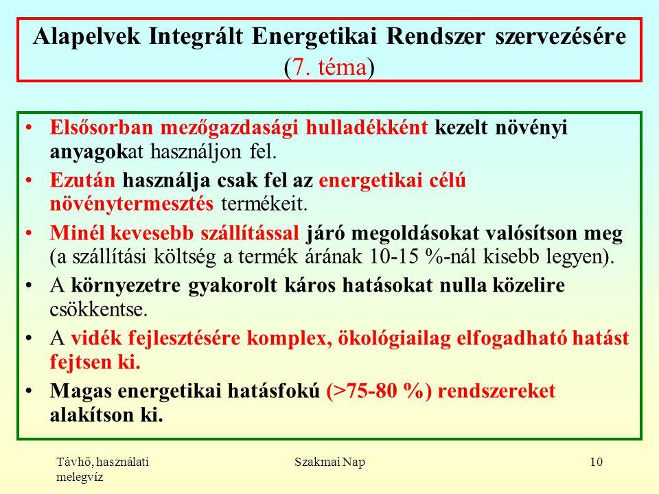Távhő, használati melegvíz Szakmai Nap10 Alapelvek Integrált Energetikai Rendszer szervezésére (7.