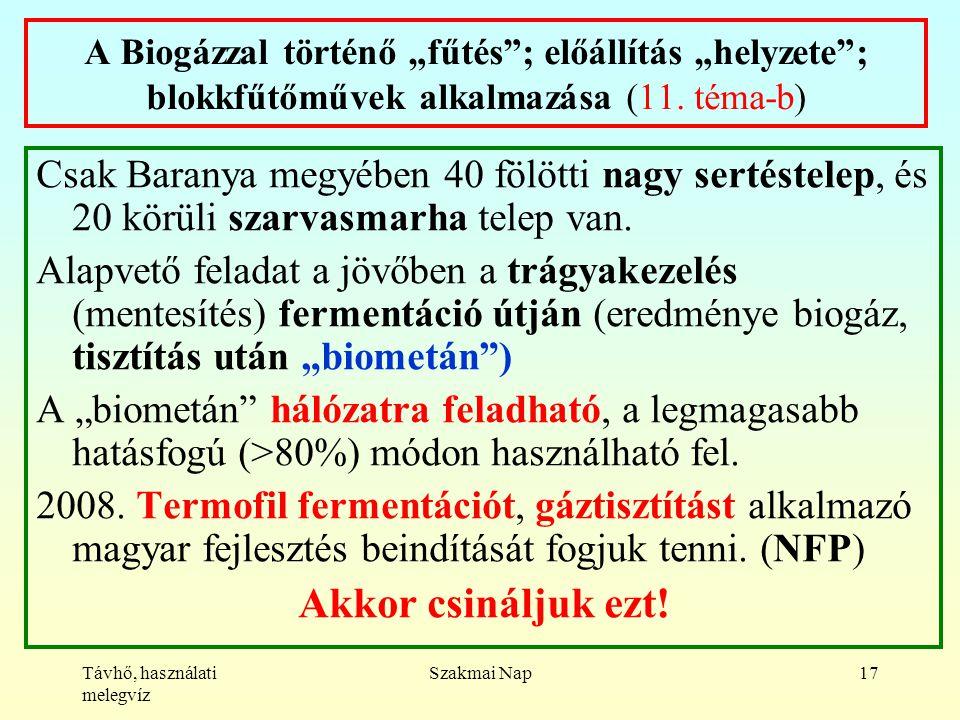 """Távhő, használati melegvíz Szakmai Nap17 A Biogázzal történő """"fűtés ; előállítás """"helyzete ; blokkfűtőművek alkalmazása (11."""
