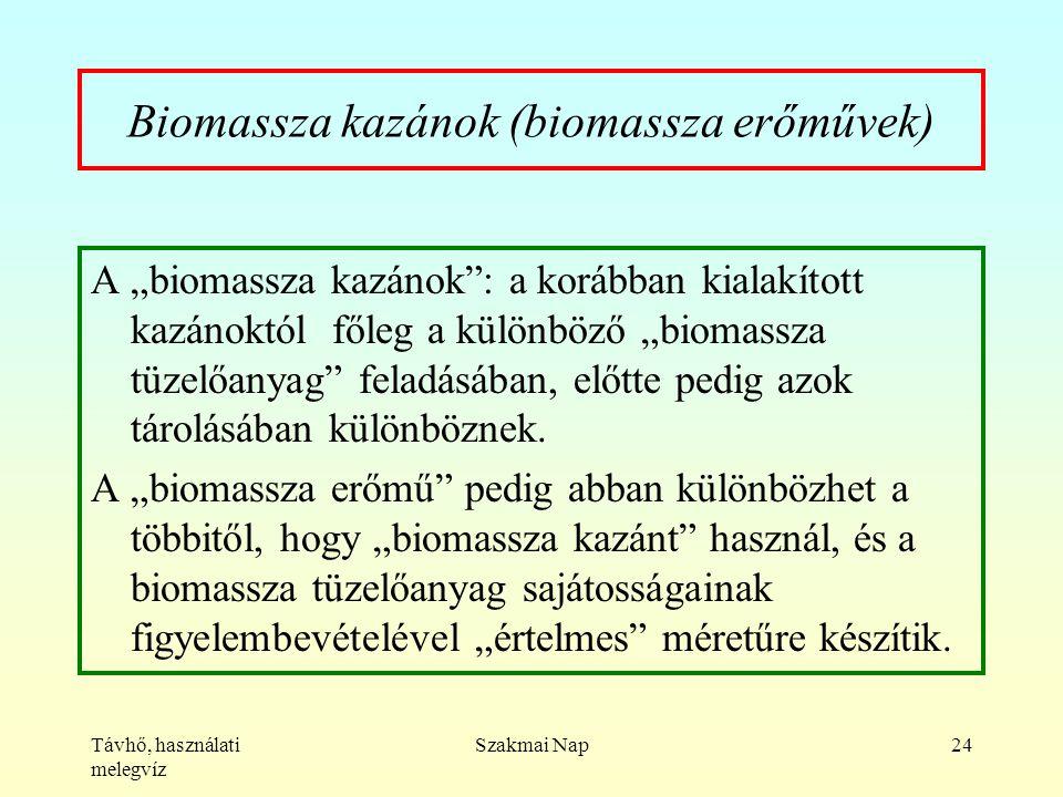 """Távhő, használati melegvíz Szakmai Nap24 Biomassza kazánok (biomassza erőművek) A """"biomassza kazánok : a korábban kialakított kazánoktól főleg a különböző """"biomassza tüzelőanyag feladásában, előtte pedig azok tárolásában különböznek."""