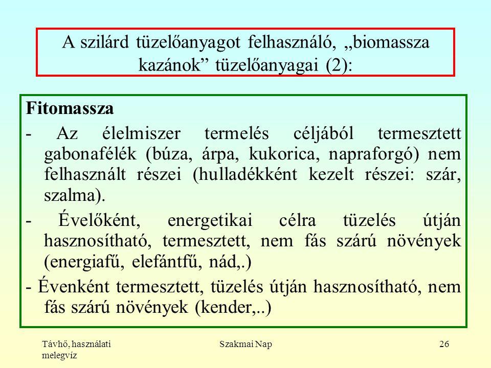 """Távhő, használati melegvíz Szakmai Nap26 A szilárd tüzelőanyagot felhasználó, """"biomassza kazánok tüzelőanyagai (2): Fitomassza - Az élelmiszer termelés céljából termesztett gabonafélék (búza, árpa, kukorica, napraforgó) nem felhasznált részei (hulladékként kezelt részei: szár, szalma)."""