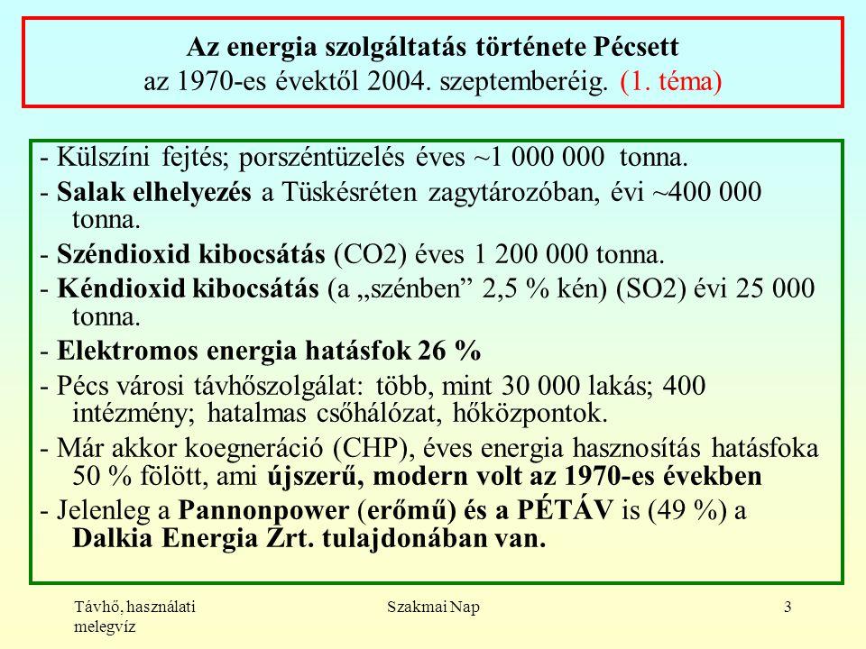 Távhő, használati melegvíz Szakmai Nap3 Az energia szolgáltatás története Pécsett az 1970-es évektől 2004.