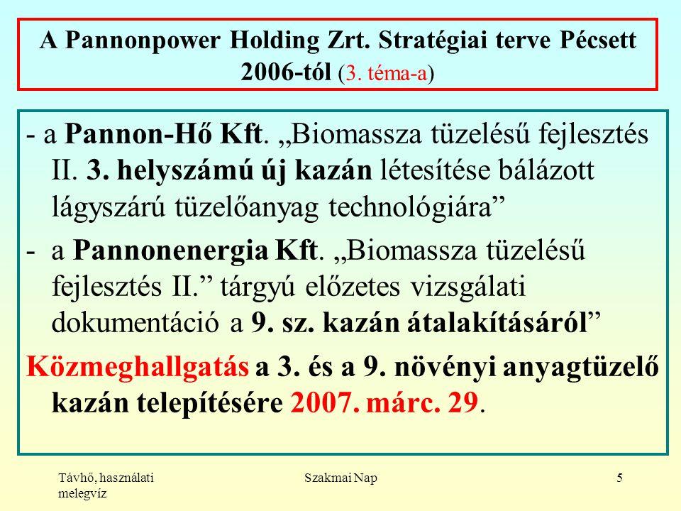 Távhő, használati melegvíz Szakmai Nap5 A Pannonpower Holding Zrt.