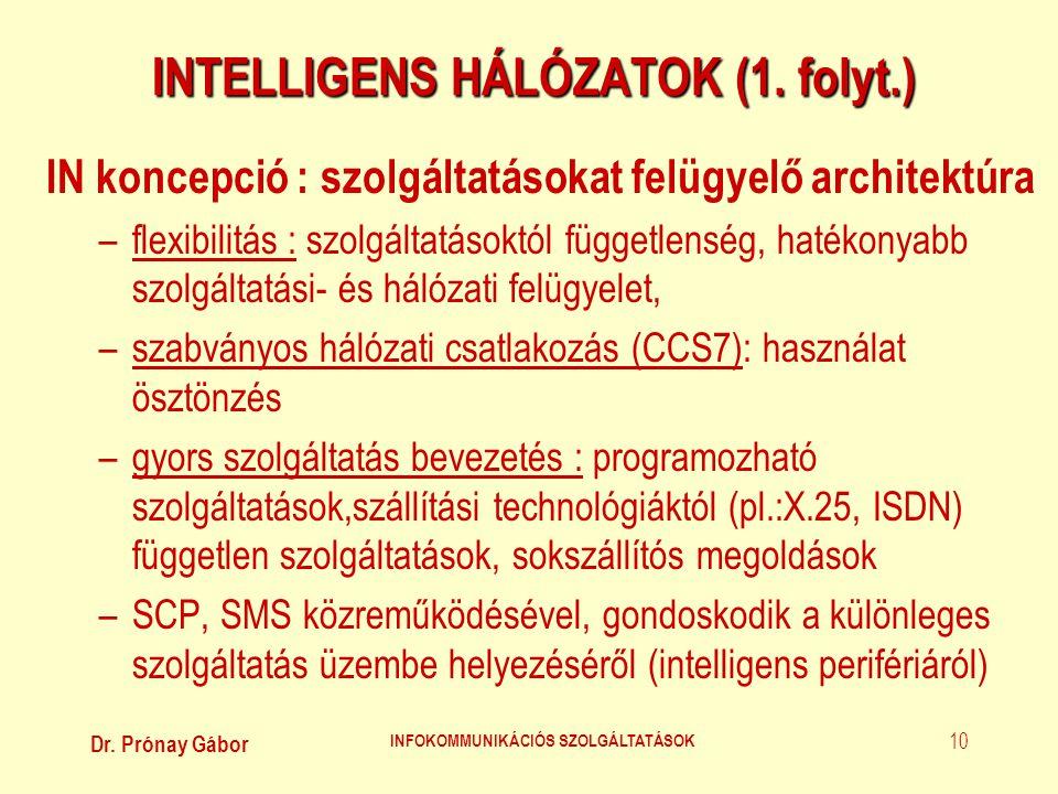 Dr. Prónay Gábor INFOKOMMUNIKÁCIÓS SZOLGÁLTATÁSOK 10 INTELLIGENS HÁLÓZATOK (1. folyt.) IN koncepció : szolgáltatásokat felügyelő architektúra –flexibi