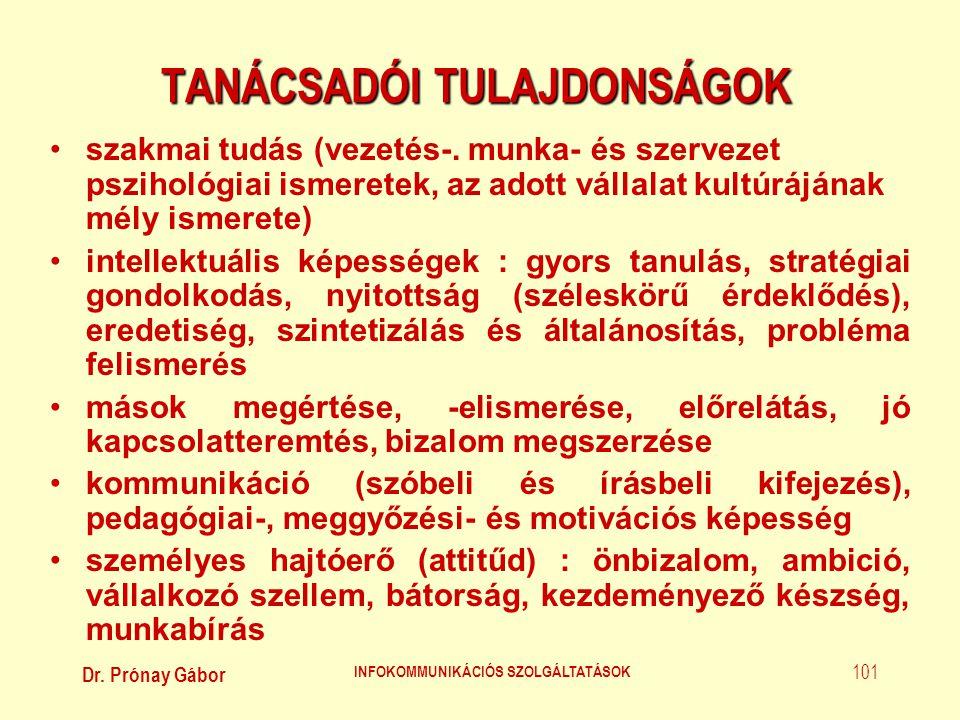 Dr. Prónay Gábor INFOKOMMUNIKÁCIÓS SZOLGÁLTATÁSOK 101 TANÁCSADÓI TULAJDONSÁGOK •szakmai tudás (vezetés-. munka- és szervezet pszihológiai ismeretek, a