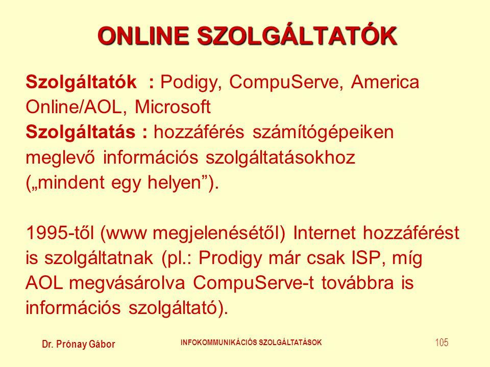 Dr. Prónay Gábor INFOKOMMUNIKÁCIÓS SZOLGÁLTATÁSOK 105 ONLINE SZOLGÁLTATÓK Szolgáltatók : Podigy, CompuServe, America Online/AOL, Microsoft Szolgáltatá