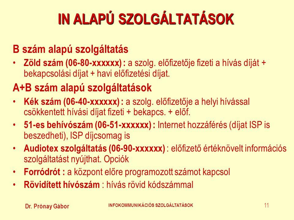 Dr. Prónay Gábor INFOKOMMUNIKÁCIÓS SZOLGÁLTATÁSOK 11 IN ALAPÚ SZOLGÁLTATÁSOK B szám alapú szolgáltatás • Zöld szám (06-80-xxxxxx) : a szolg. előfizető