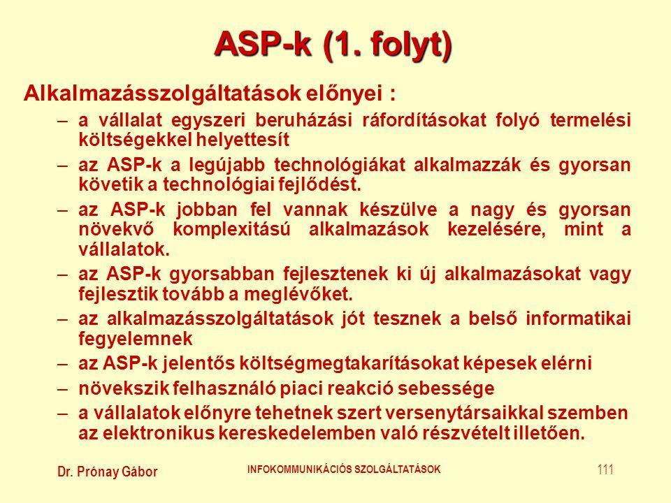 Dr. Prónay Gábor INFOKOMMUNIKÁCIÓS SZOLGÁLTATÁSOK 111 ASP-k (1. folyt) Alkalmazásszolgáltatások előnyei : –a vállalat egyszeri beruházási ráfordítások