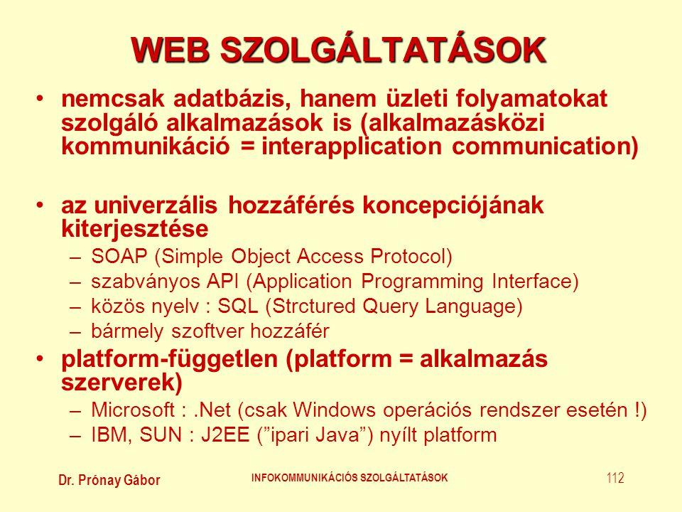Dr. Prónay Gábor INFOKOMMUNIKÁCIÓS SZOLGÁLTATÁSOK 112 WEB SZOLGÁLTATÁSOK •nemcsak adatbázis, hanem üzleti folyamatokat szolgáló alkalmazások is (alkal