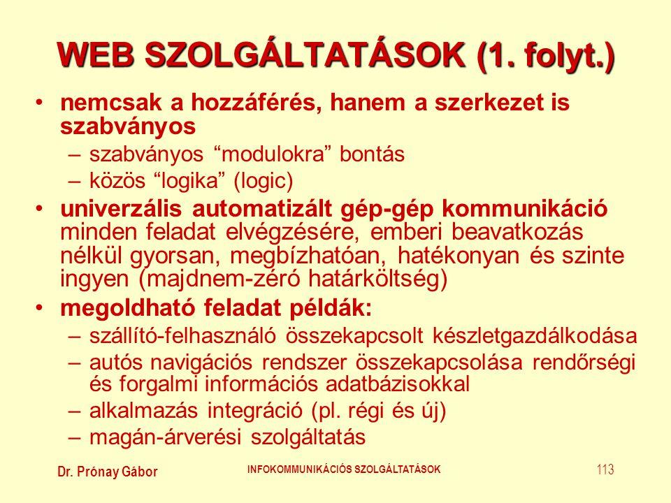 Dr. Prónay Gábor INFOKOMMUNIKÁCIÓS SZOLGÁLTATÁSOK 113 WEB SZOLGÁLTATÁSOK (1. folyt.) •nemcsak a hozzáférés, hanem a szerkezet is szabványos –szabványo