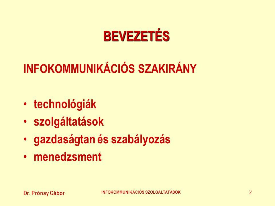 Dr. Prónay Gábor INFOKOMMUNIKÁCIÓS SZOLGÁLTATÁSOK 2 BEVEZETÉS INFOKOMMUNIKÁCIÓS SZAKIRÁNY • technológiák • szolgáltatások • gazdaságtan és szabályozás