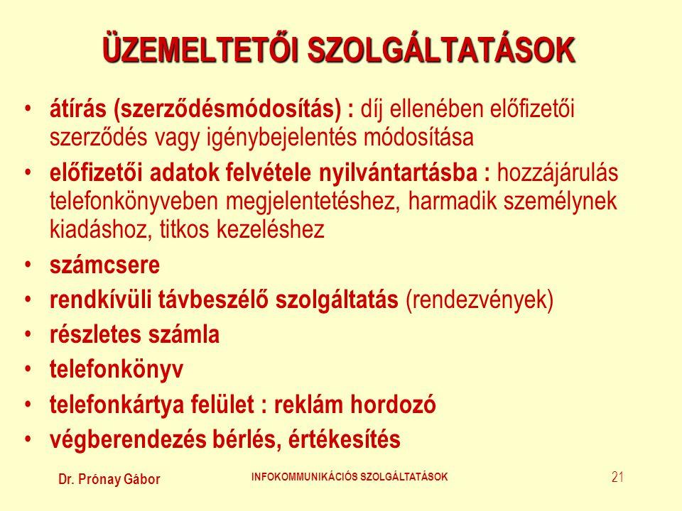 Dr. Prónay Gábor INFOKOMMUNIKÁCIÓS SZOLGÁLTATÁSOK 21 ÜZEMELTETŐI SZOLGÁLTATÁSOK • átírás (szerződésmódosítás) : díj ellenében előfizetői szerződés vag