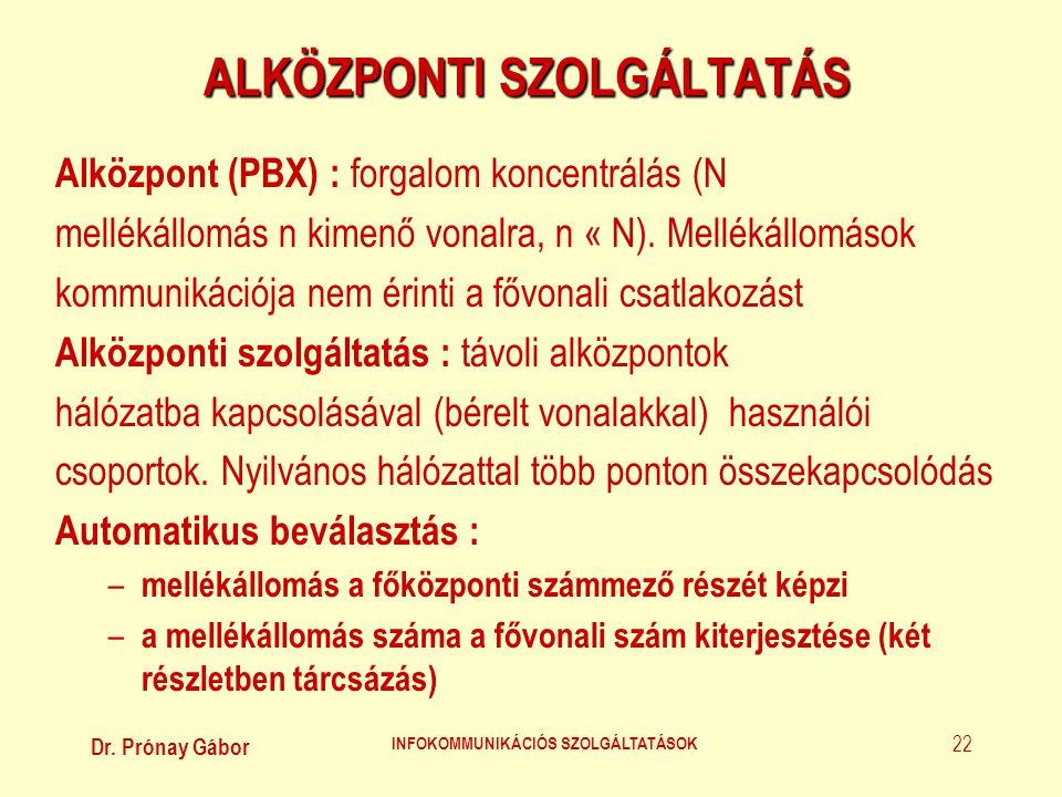 Dr. Prónay Gábor INFOKOMMUNIKÁCIÓS SZOLGÁLTATÁSOK 22 ALKÖZPONTI SZOLGÁLTATÁS Alközpont (PBX) : forgalom koncentrálás (N mellékállomás n kimenő vonalra