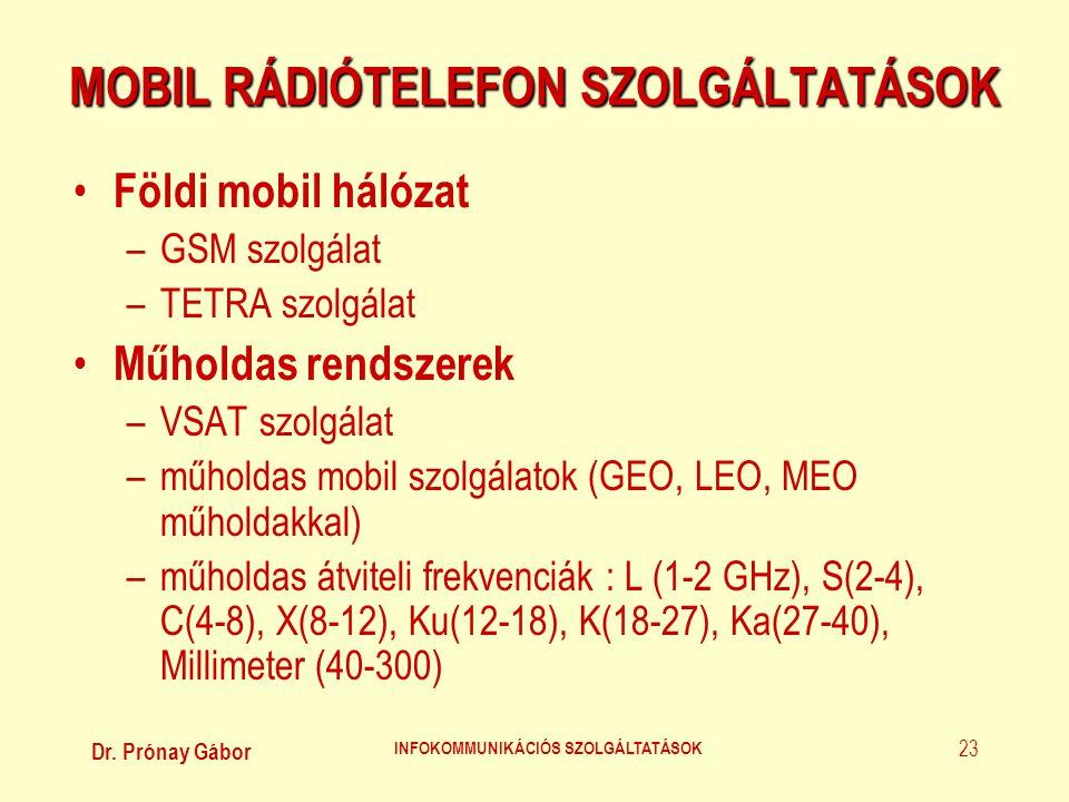 Dr. Prónay Gábor INFOKOMMUNIKÁCIÓS SZOLGÁLTATÁSOK 23 MOBIL RÁDIÓTELEFON SZOLGÁLTATÁSOK • Földi mobil hálózat –GSM szolgálat –TETRA szolgálat • Műholda
