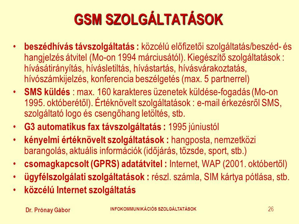 Dr. Prónay Gábor INFOKOMMUNIKÁCIÓS SZOLGÁLTATÁSOK 26 GSM SZOLGÁLTATÁSOK • beszédhívás távszolgáltatás : közcélú előfizetői szolgáltatás/beszéd- és han
