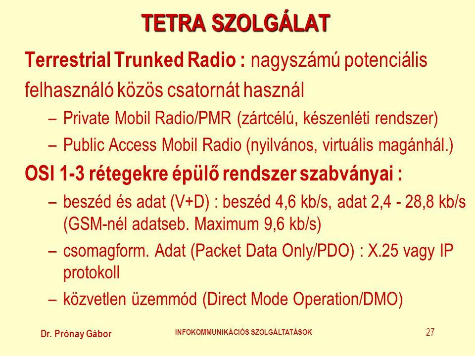 Dr. Prónay Gábor INFOKOMMUNIKÁCIÓS SZOLGÁLTATÁSOK 27 TETRA SZOLGÁLAT Terrestrial Trunked Radio : nagyszámú potenciális felhasználó közös csatornát has