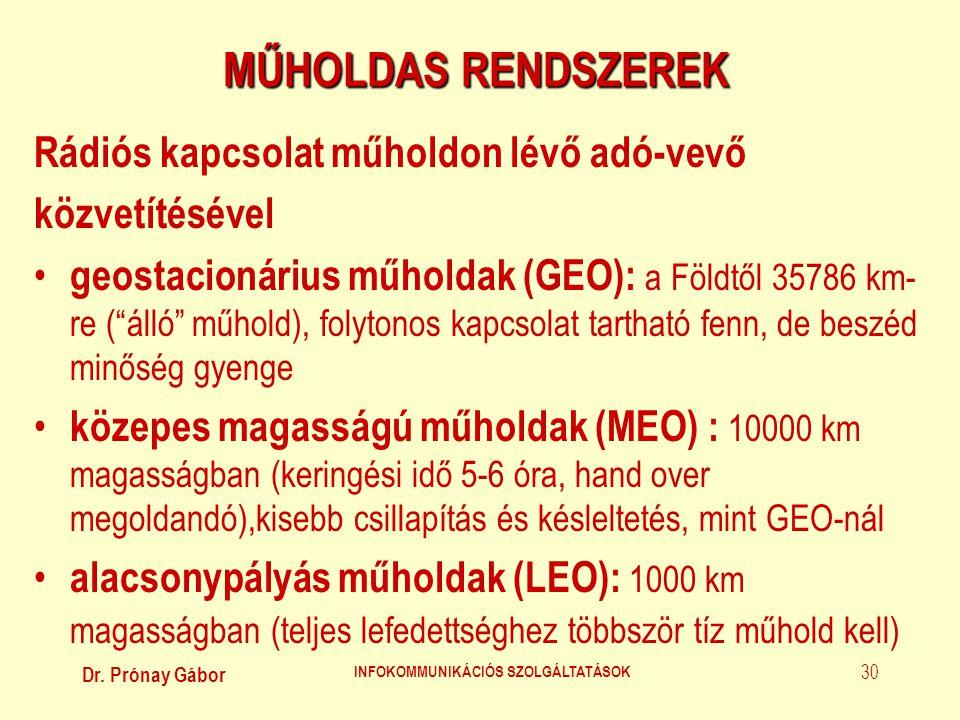 Dr. Prónay Gábor INFOKOMMUNIKÁCIÓS SZOLGÁLTATÁSOK 30 MŰHOLDAS RENDSZEREK Rádiós kapcsolat műholdon lévő adó-vevő közvetítésével • geostacionárius műho