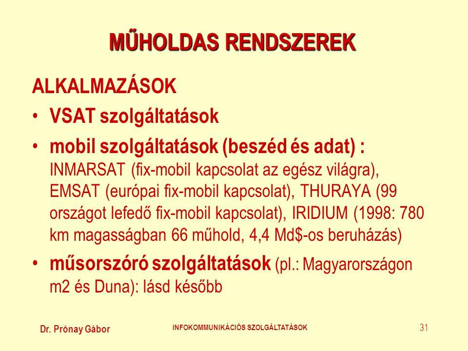 Dr. Prónay Gábor INFOKOMMUNIKÁCIÓS SZOLGÁLTATÁSOK 31 MŰHOLDAS RENDSZEREK ALKALMAZÁSOK • VSAT szolgáltatások • mobil szolgáltatások (beszéd és adat) :
