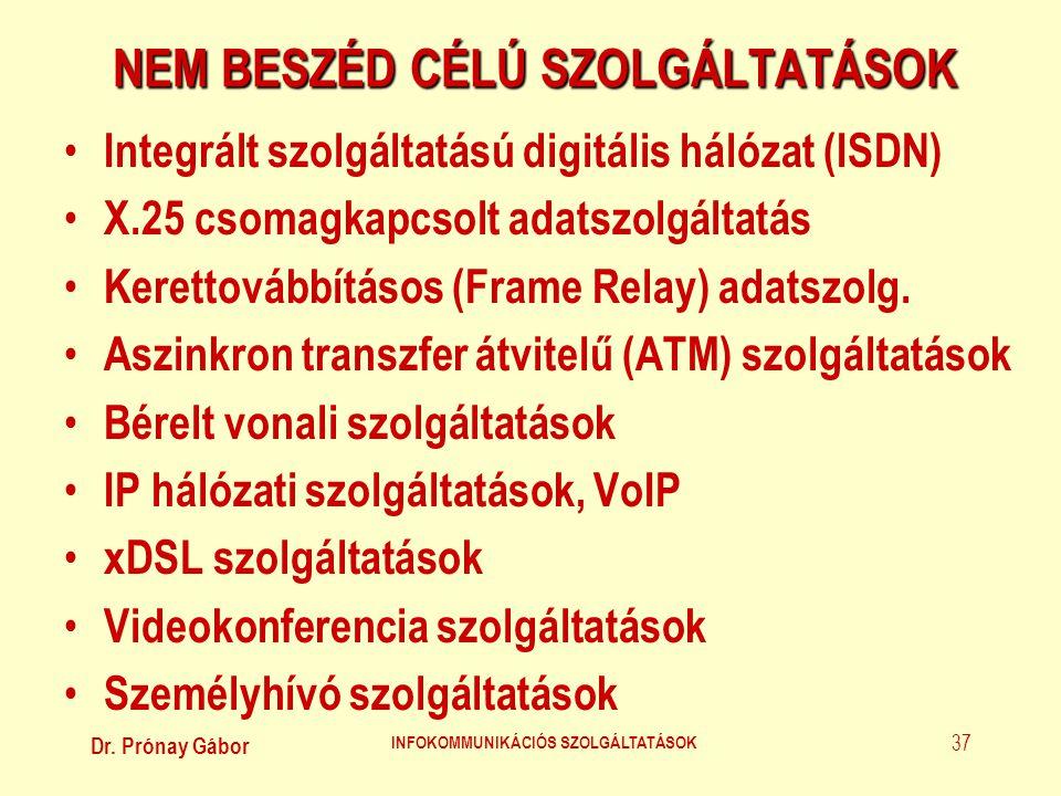 Dr. Prónay Gábor INFOKOMMUNIKÁCIÓS SZOLGÁLTATÁSOK 37 NEM BESZÉD CÉLÚ SZOLGÁLTATÁSOK • Integrált szolgáltatású digitális hálózat (ISDN) • X.25 csomagka