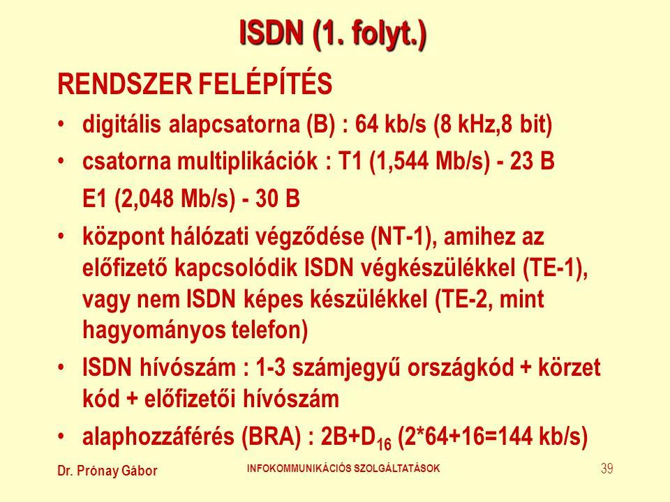 Dr. Prónay Gábor INFOKOMMUNIKÁCIÓS SZOLGÁLTATÁSOK 39 ISDN (1. folyt.) RENDSZER FELÉPÍTÉS • digitális alapcsatorna (B) : 64 kb/s (8 kHz,8 bit) • csator