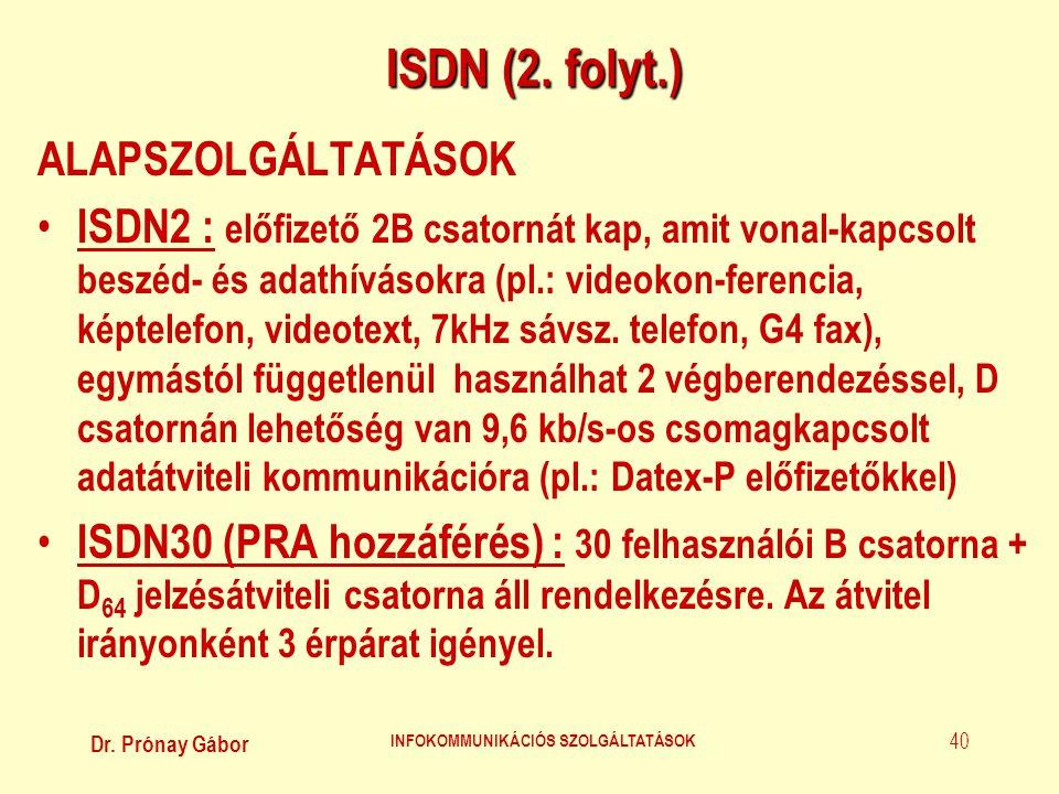 Dr. Prónay Gábor INFOKOMMUNIKÁCIÓS SZOLGÁLTATÁSOK 40 ISDN (2. folyt.) ALAPSZOLGÁLTATÁSOK • ISDN2 : előfizető 2B csatornát kap, amit vonal-kapcsolt bes