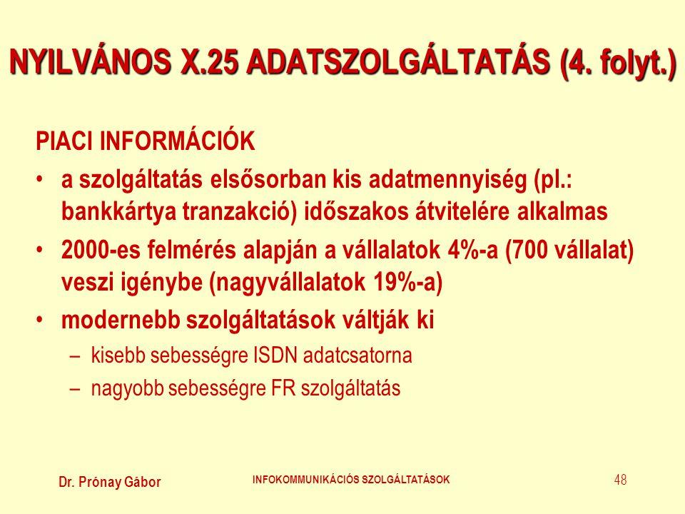 Dr. Prónay Gábor INFOKOMMUNIKÁCIÓS SZOLGÁLTATÁSOK 48 NYILVÁNOS X.25 ADATSZOLGÁLTATÁS (4. folyt.) PIACI INFORMÁCIÓK • a szolgáltatás elsősorban kis ada