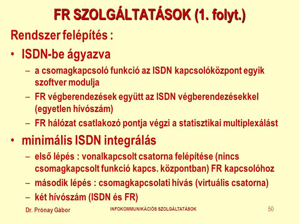 Dr. Prónay Gábor INFOKOMMUNIKÁCIÓS SZOLGÁLTATÁSOK 50 FR SZOLGÁLTATÁSOK (1. folyt.) Rendszer felépítés : • ISDN-be ágyazva – a csomagkapcsoló funkció a