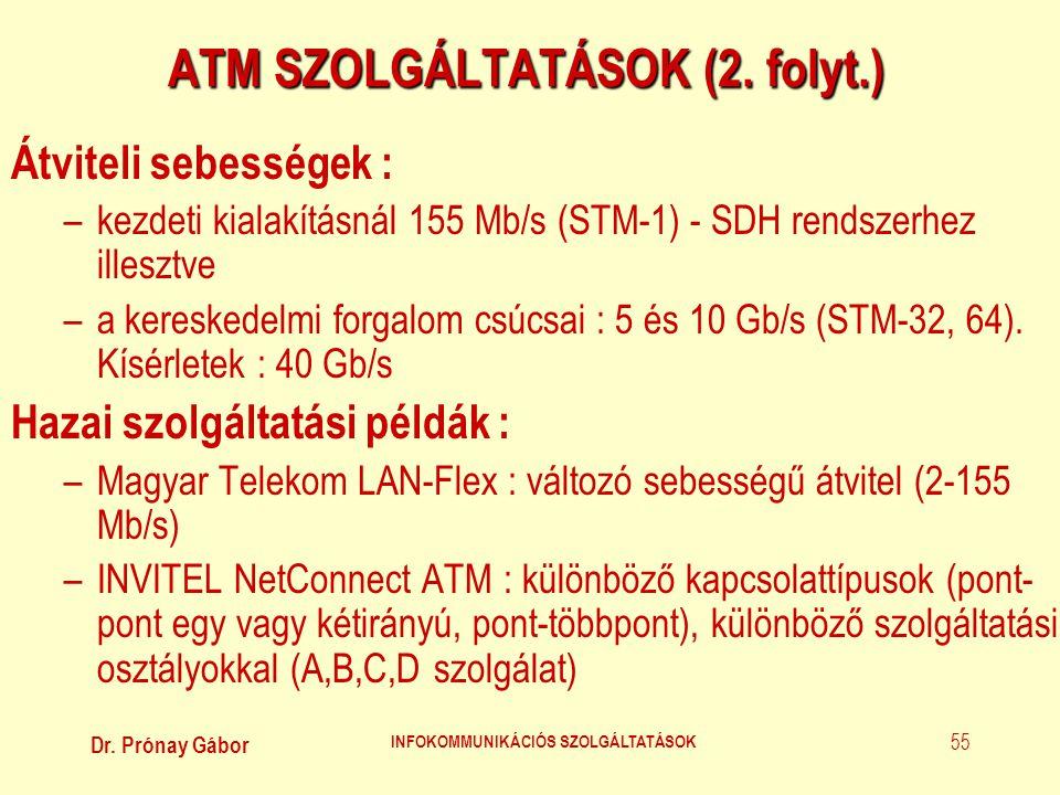 Dr. Prónay Gábor INFOKOMMUNIKÁCIÓS SZOLGÁLTATÁSOK 55 ATM SZOLGÁLTATÁSOK (2. folyt.) Átviteli sebességek : –kezdeti kialakításnál 155 Mb/s (STM-1) - SD