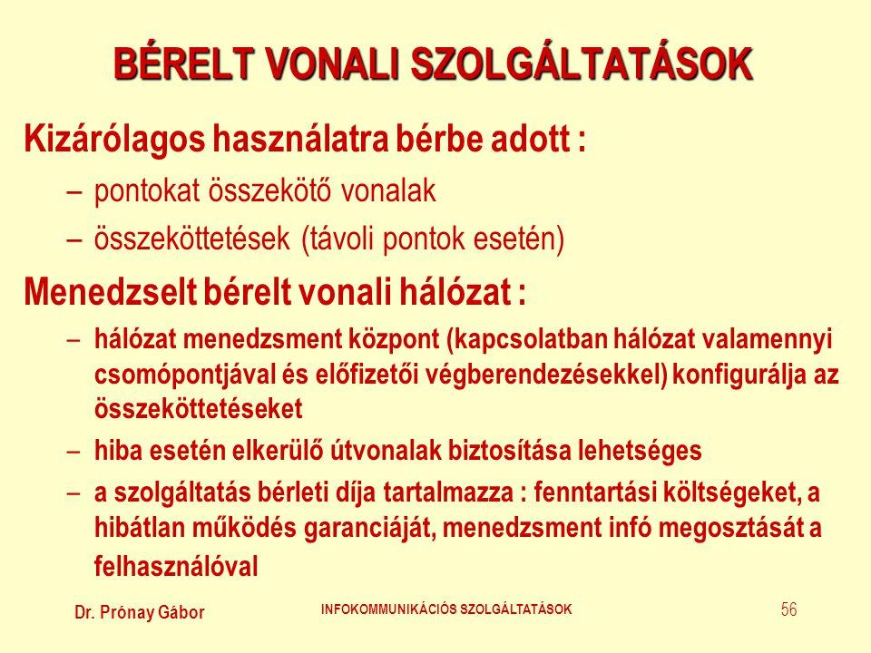 Dr. Prónay Gábor INFOKOMMUNIKÁCIÓS SZOLGÁLTATÁSOK 56 BÉRELT VONALI SZOLGÁLTATÁSOK Kizárólagos használatra bérbe adott : –pontokat összekötő vonalak –ö